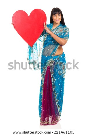 beautiful indian woman presenting heart shape isolated on white - stock photo