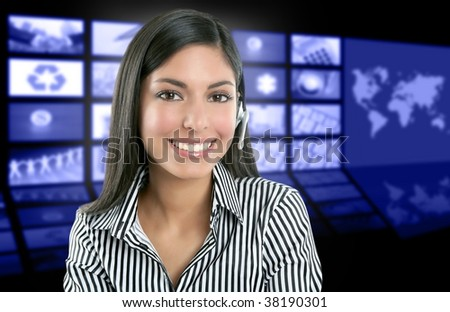 Beautiful indian woman television news presenter with multiple screen background [Photo Illustration] - stock photo