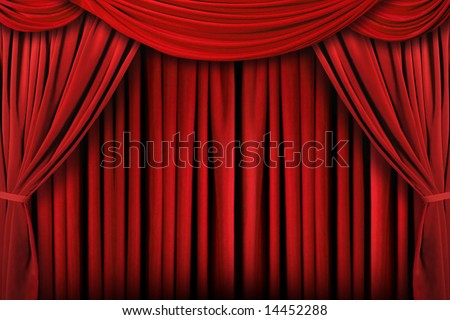Beautiful Indoor Theater Stage Background With Dramatic Lighting - stock photo