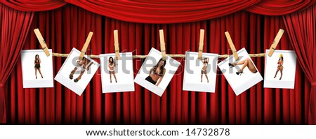 Beautiful Indoor Theater Stage Background With Sexy instant photos of a Hot Female - stock photo