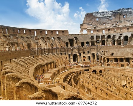 Beautiful inside view of Colosseum in the summer...