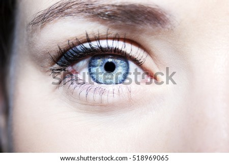 Beautiful insightful look blue woman's eye