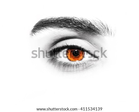 Beautiful insightful look brown eyes