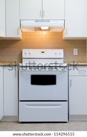 Beautiful interior of a custom kitchen - stock photo