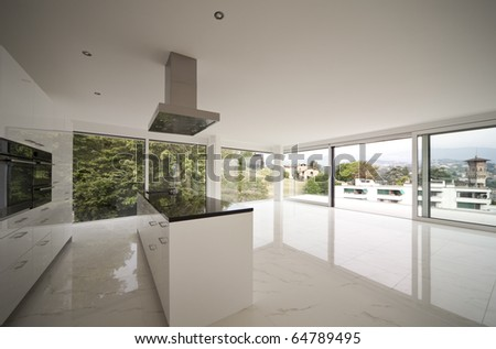 beautiful interior of a modern house, open kitchen - stock photo