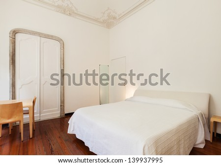 beautiful interior of hotel room, view bedroom - stock photo