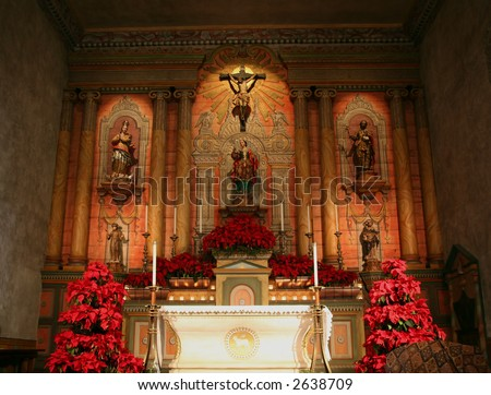 Beautiful interior of the church at the Santa Barbara Mission in California near Christmas - stock photo