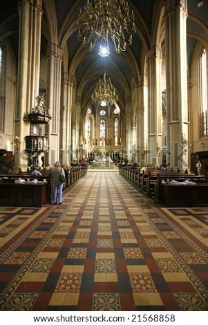 Beautiful interior of Zagreb church in Croatia - stock photo