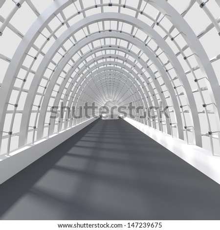 Beautiful interior rendering - Long Corridor - 3d illustration