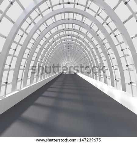 Beautiful interior rendering - Long Corridor - 3d illustration - stock photo