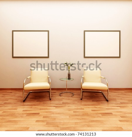 beautiful interior with modern chairs - stock photo