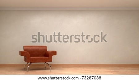 beautiful interior with modern leather chair on wood floor - stock photo