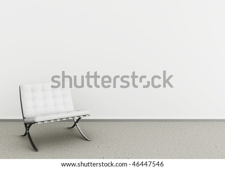 Beautiful interior with modern white chair on concrete floor - stock photo