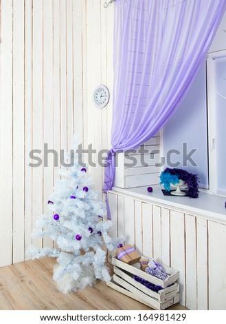 beautiful interior with white New year tree - stock photo