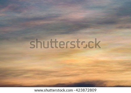 Beautiful Iridescent cloud , Rainbow Cloud and Sunset