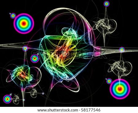 Beautiful  iridescent fractal background - stock photo