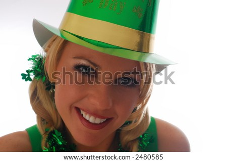 Beautiful Irish Lass in a St. Patty's Party Hat - stock photo
