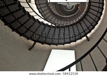 beautiful iros stairs in lighthouse from Sankt Augustine in Florida - stock photo