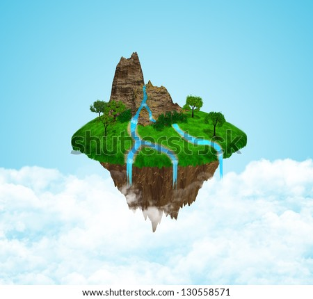 Beautiful island floating in the sky - stock photo