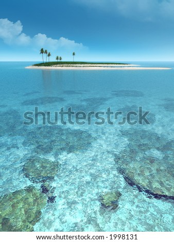 Beautiful island in the middle of the ocean. - stock photo
