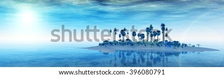 beautiful island in the ocean, sunset over a tropical island. panorama sea sunrise. banner. 3D rendering. - stock photo
