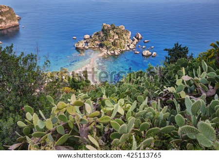 Beautiful Island (Isola Bella) beach in Taormina, Sicily, Italy. - stock photo