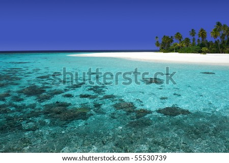 Beautiful island with pristine coral reef and white sand beaches - stock photo