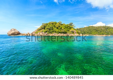 beautiful island with white beach and clear sky and blue sea in andaman thailand, lipe - stock photo