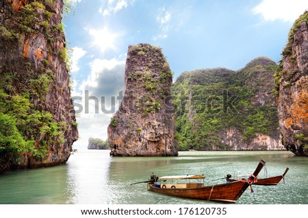 Beautiful islands at ocean, Thailand - stock photo
