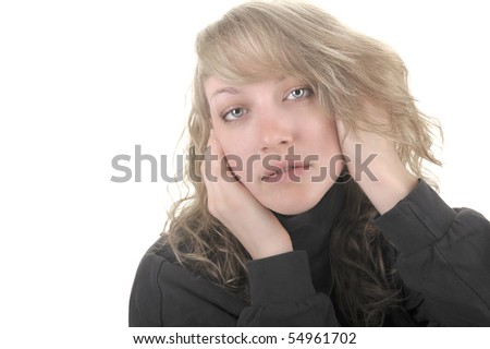 Beautiful Isolated image of a  Blond woman