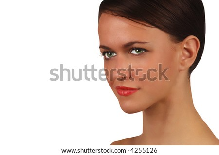 Beautiful Isolated portrait of a young Woman - stock photo