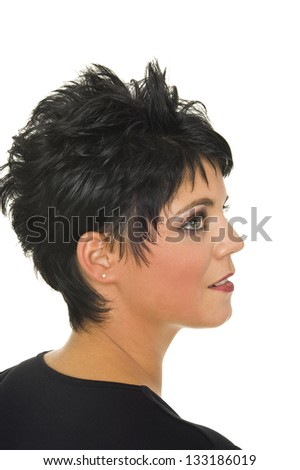 beautiful isolated young woman with perfect stylish haircut - stock photo