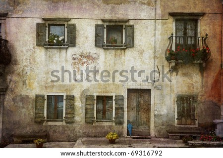 Beautiful Italian village home in decay. More of my images worked together to reflect time and age. - stock photo