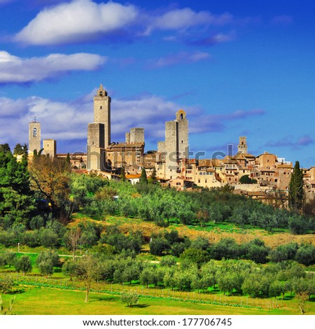 beautiful Italy series, view of  San Gimignano - medieval town of Tuscany - stock photo