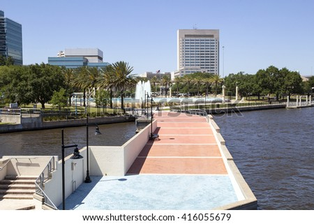Beautiful Jacksonville, Florida Friendship Fountain and Riverwalk - stock photo