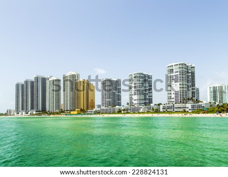 beautiful Jade Beach in Miami with skyscrapers - stock photo