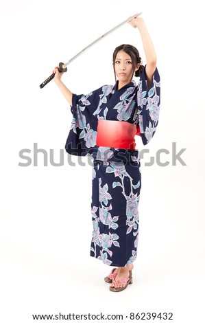 beautiful japanese kimono woman with samurai sword