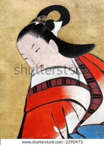 Beautiful Japanese woman wearing traditional kimono. Japan. 18th century silk painting. - stock photo