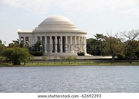 Beautiful Jefferson Memorial and Tidal Basin in Washington, DC - stock photo