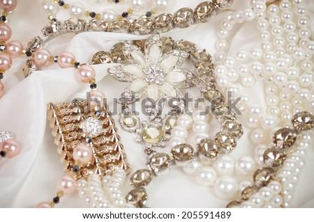 Beautiful jewelry on background - stock photo