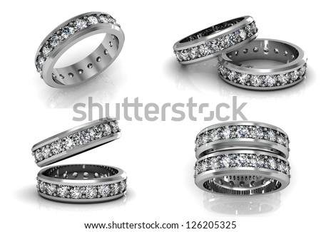 Beautiful jewelry rings  (high resolution 3D image) - stock photo