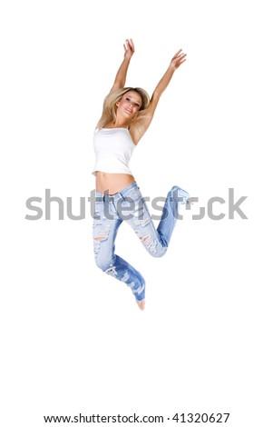 Beautiful jumping girl isolated on white background - stock photo