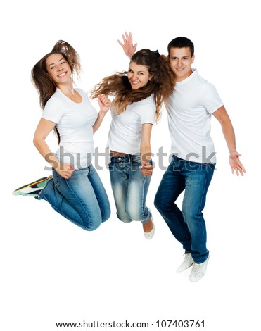 Beautiful jumping people isolated on white background - stock photo