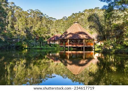 Beautiful jungle lodge in the Andasibe Mantadia National Park, Madagascar - stock photo