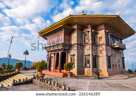 Beautiful Karma Theckling monastery in Ravangla, Sikkim at dawn. - stock photo
