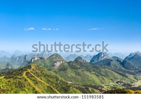 beautiful karst hills against a blue sky in guilin,China - stock photo