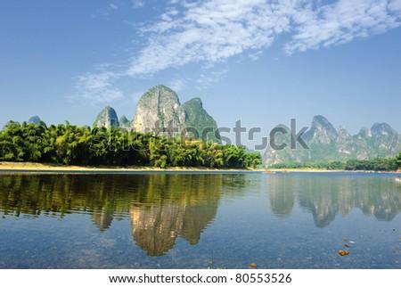Beautiful Karst mountain landscape in Yangshuo Guilin, China - stock photo