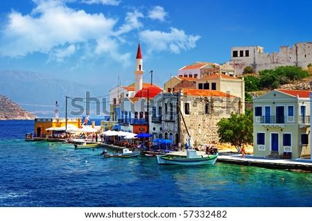 beautiful Kasteloriso bay (Greece, Dodecanes) - stock photo