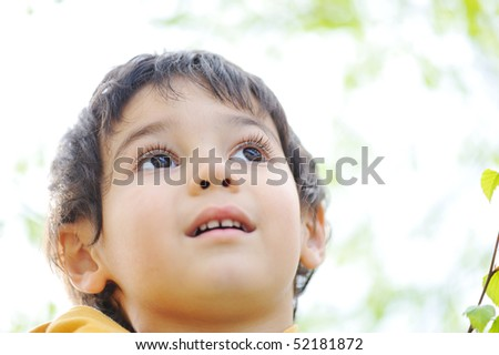 Beautiful kid looking into his future