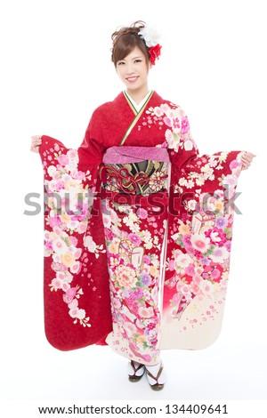 Beautiful kimono woman isolated on white background - stock photo